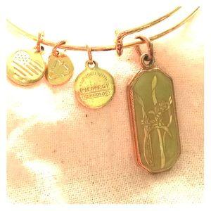 Alex and Ani Gladiolus gold tone bracelet